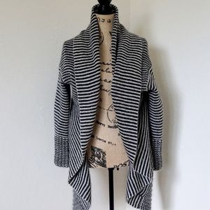 Imperial Tan Striped Wool Cardigan Made in Italy